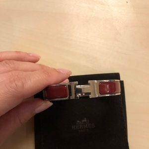 HERMES Clic Clac H Brown Enamel Cuff Bracelet